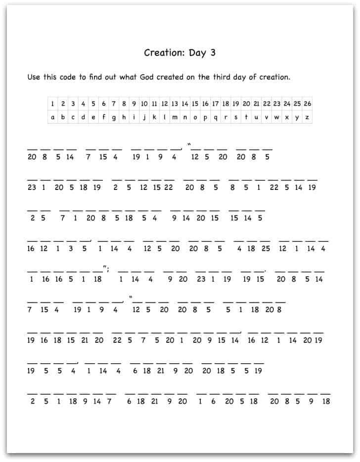 Creation Day 3 Bible Verse Decoding Worksheet