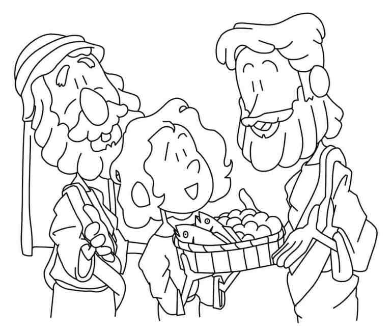 Jesus Feeds 5000 Coloring Page - Free PDF download
