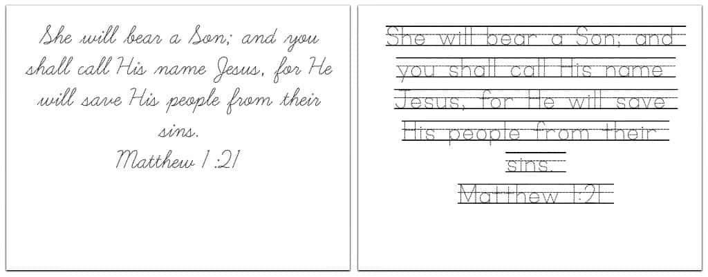Christmas Bible Verses - Handwriting Practice Printables