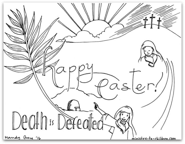 """Easter Coloring Page """"Death is Defeated"""""""