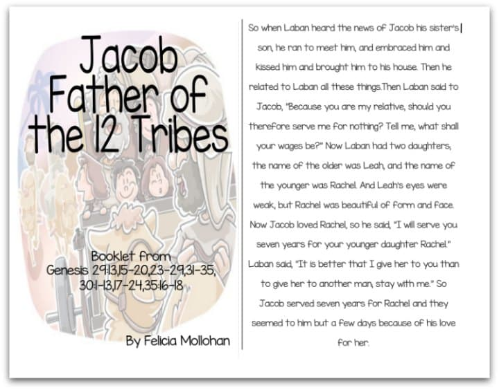 """""""Jacob, Father of the 12 Tribes of Israel"""" Bible Story Booklet"""