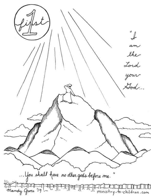 1st Commandment Coloring Page - I am the Lord your God... you shall have no other gods before me.