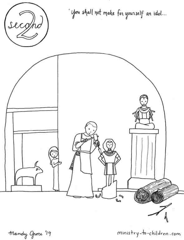 2nd Commandment Coloring Page - You shall not make for yourself an idol...