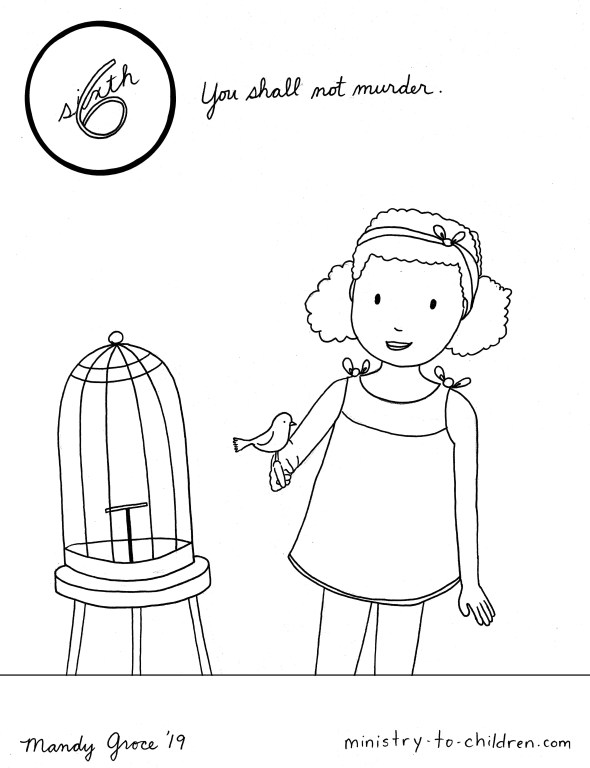 6th Commandment Coloring Page - You Shall Not Murder