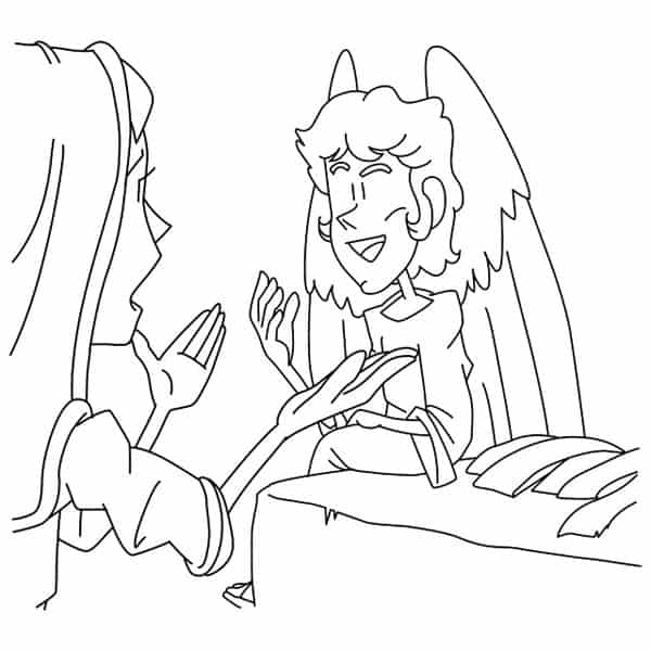 Mary, Angel, Empty Tomb Coloring Page for Easter