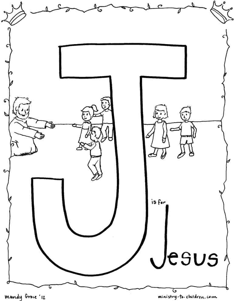 J is for Jesus (Bible Alphabet Coloring Page) printable line drawing