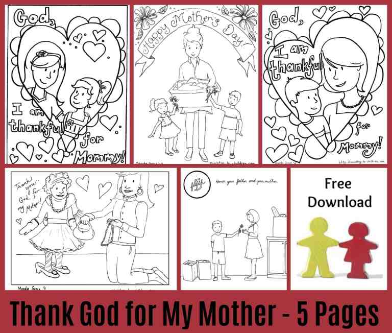 Mother's Day coloring pages - Image collage of line drawings pictures