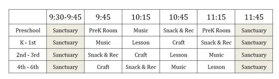 VBS Daily Schedule