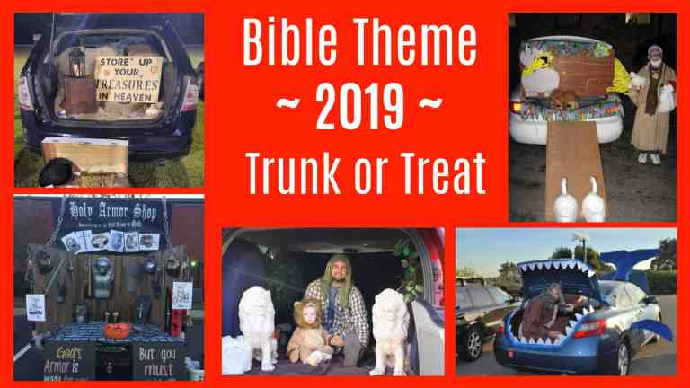 Biblical themed car decorations for trunk or treat at church