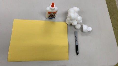 Supplies for Fluffy Handprint Sheep Craft
