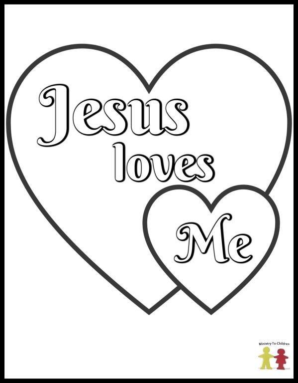 Jesus Loves Me - Preschool Coloring Page