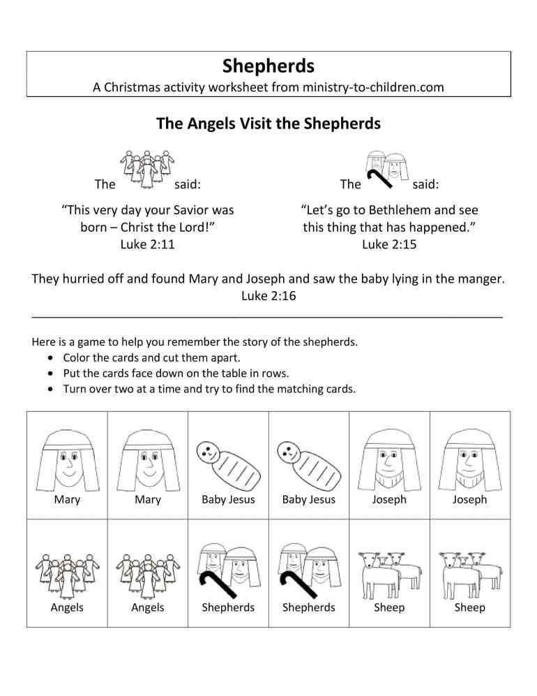 birth of Jesus worksheets