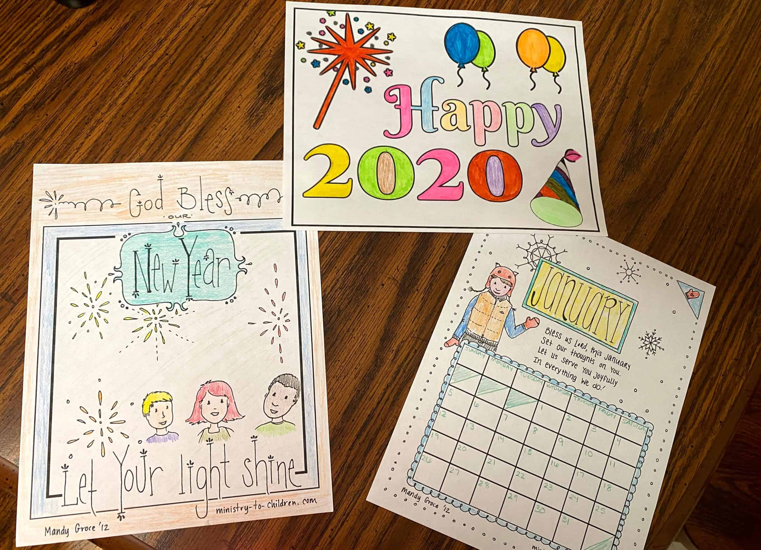 New Year S Coloring Page 2020 Let Your Light Shine Free Printbale Pdf
