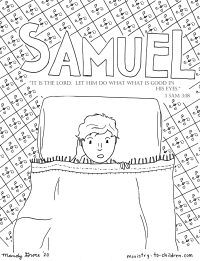 Samuel hears God's Voice coloring page