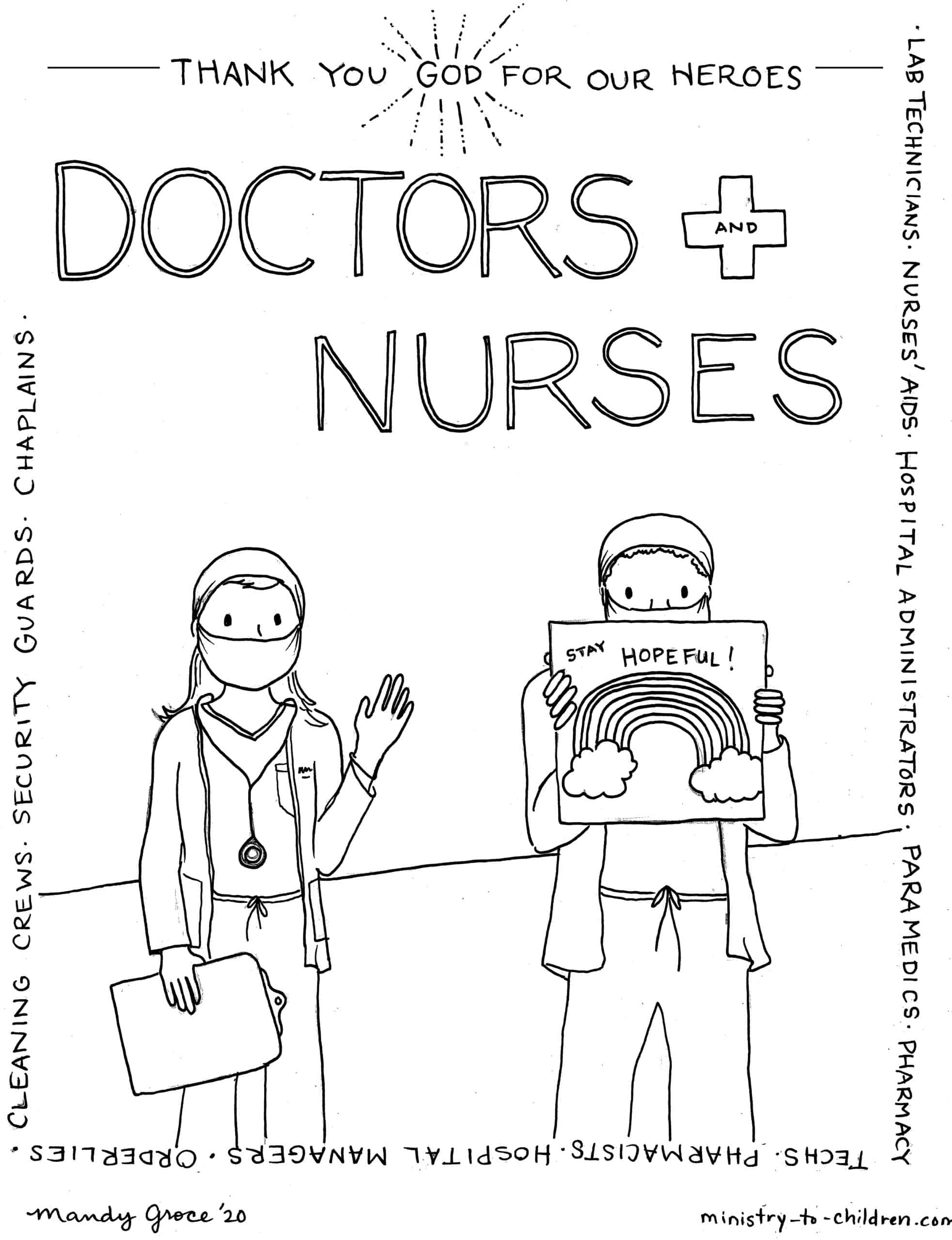 Coloring Page: Healthcare Workers are Heroes (Doctors and ...