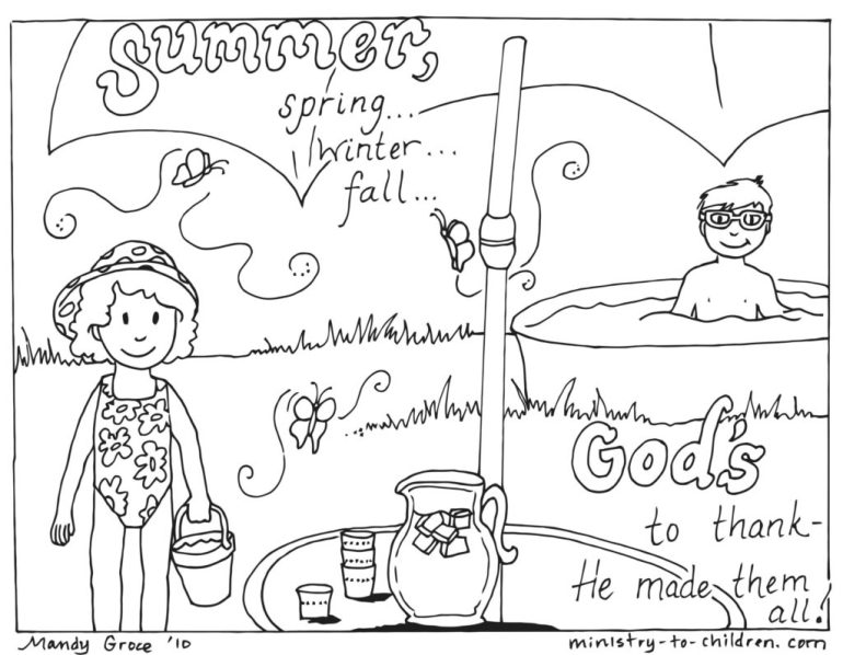 God Made Summer Coloring Page (religious)