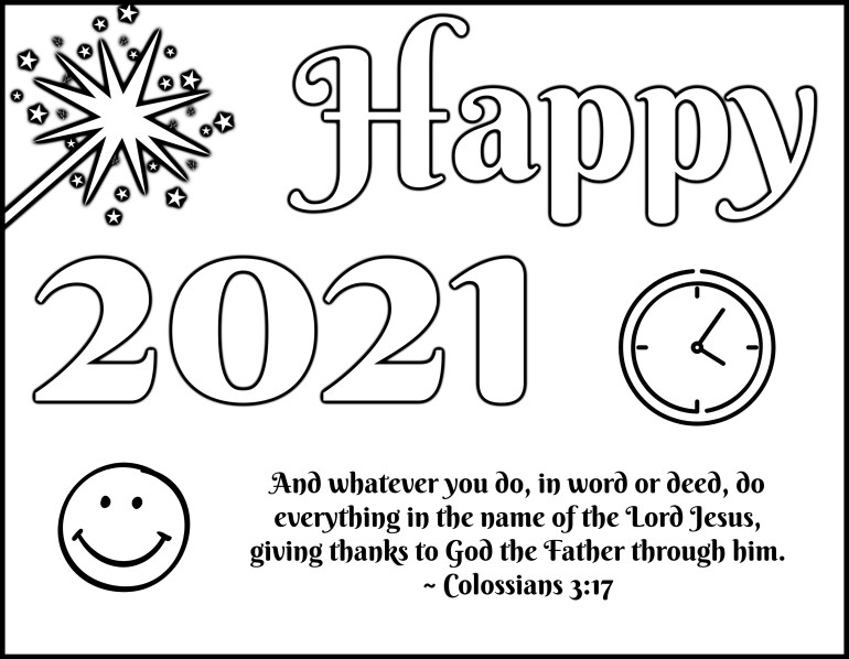 Happy 2021 Coloring Page for Kids
