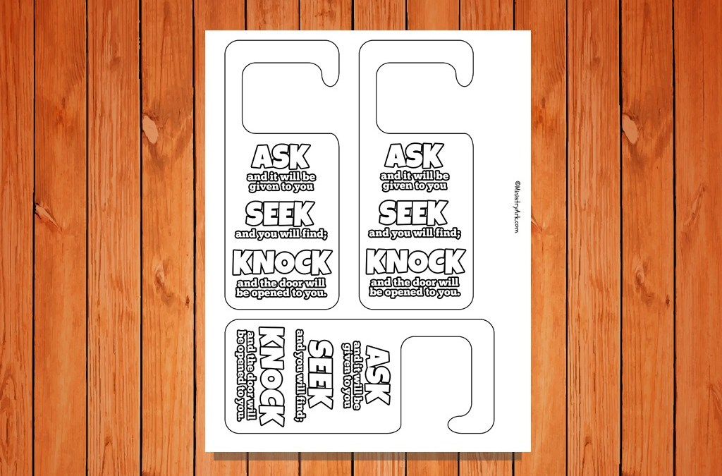 'Ask, Seek, Knock' Door Hangers Printable