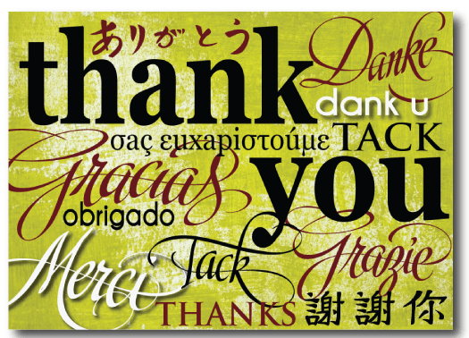 Multi Cultural Thank You Postcard PC7016 Ministry