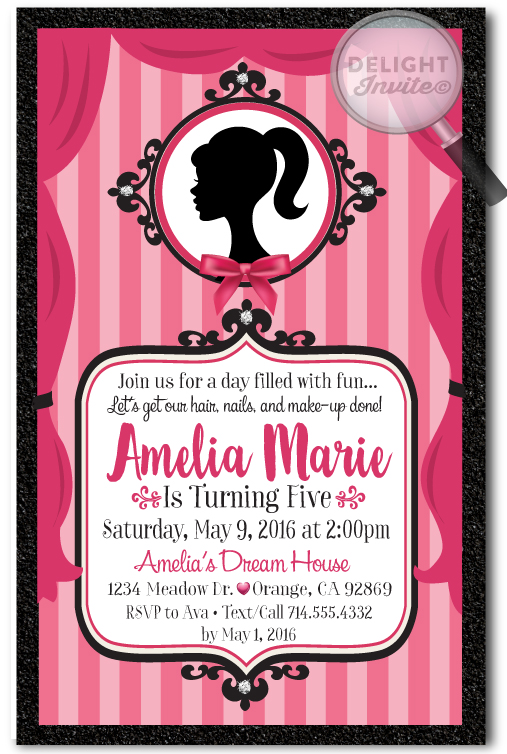 Vintage Pink Barbie Birthday Invitations Di 669 Ministry