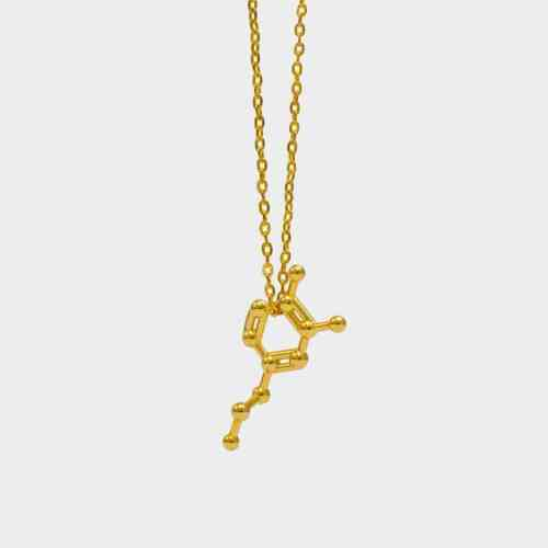 Dopamine-Molecule-Necklace-3D-Gold