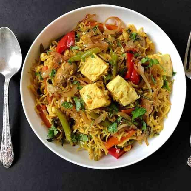 vegetable and paneer biryani