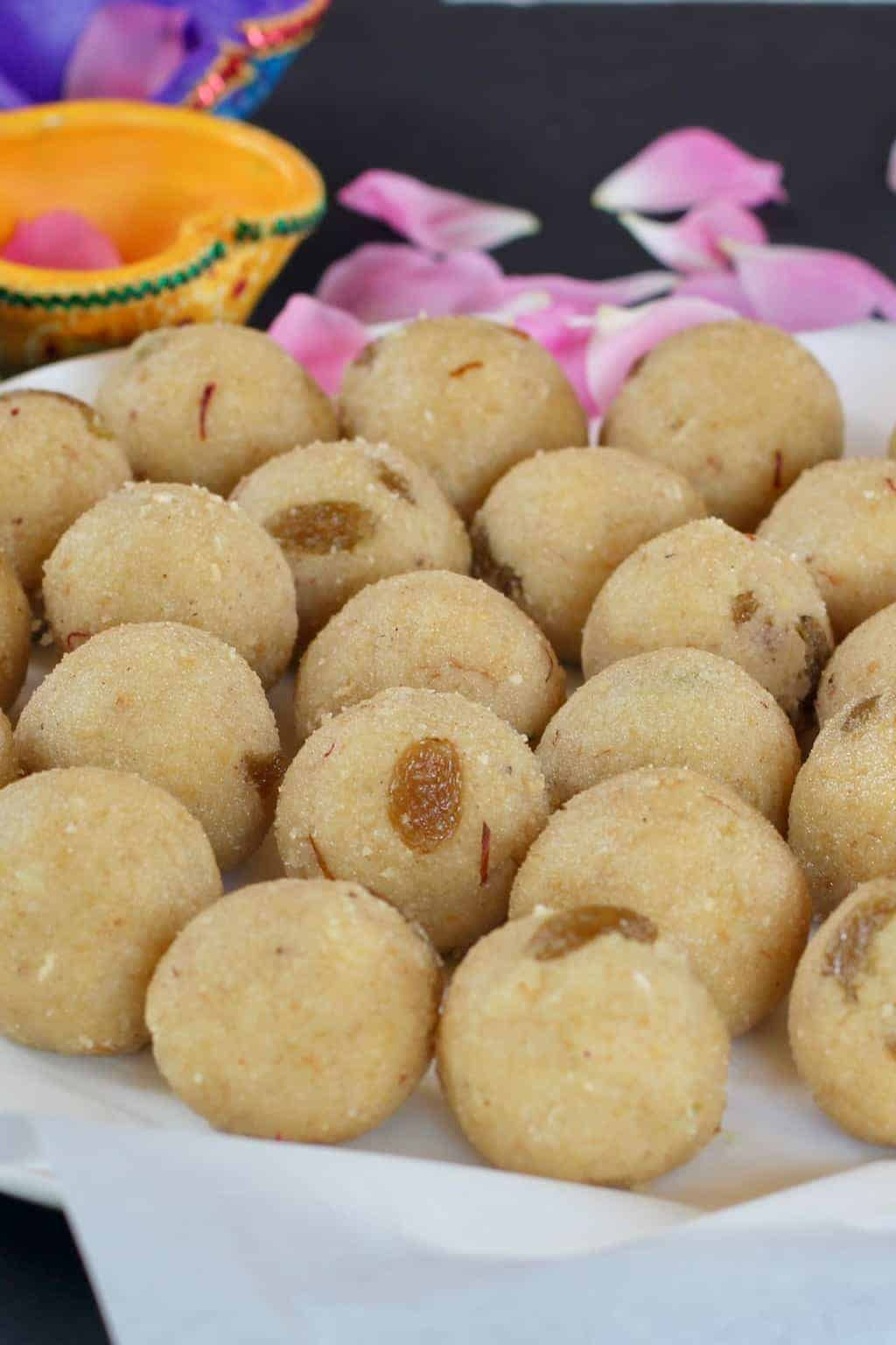 Rava Coconut Ladoo - Soft melt in the mouth dessert balls AKA