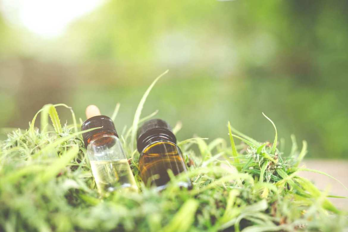 Two different colored vials of hemp extract sit on a bed of hemp leaves. Full spectrum CBD contains more cannabinoids and other natural compounds, while CBD isolate may be better for people who need a strong dose of just cannabidiol.