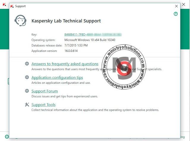 Kaspersky working in windows 10
