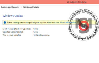 Windows update has been disabled by your system administrator