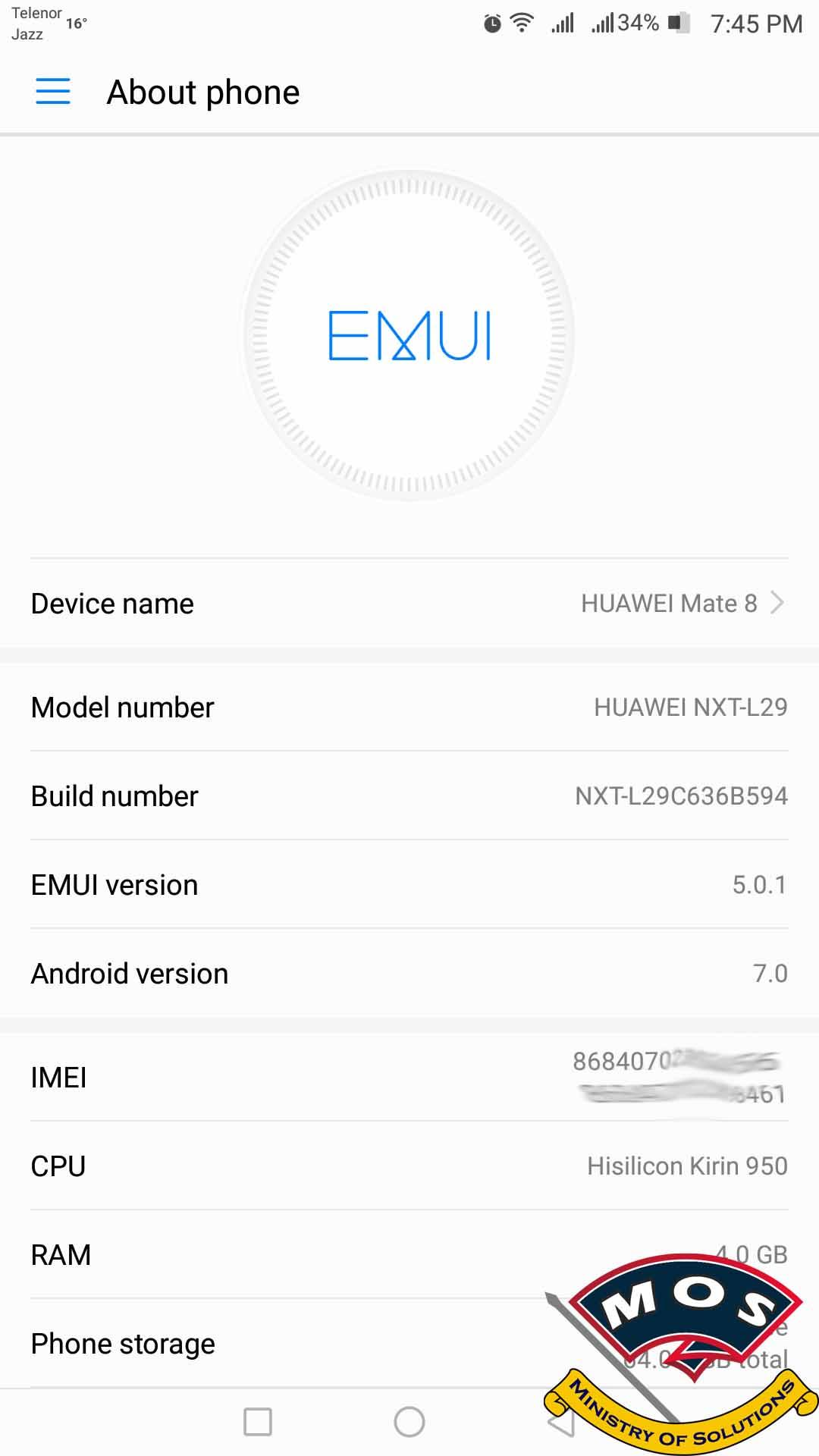 Huawei Mate 8 NXT-L29 Nougat B594 Firmware (Asia Pacific