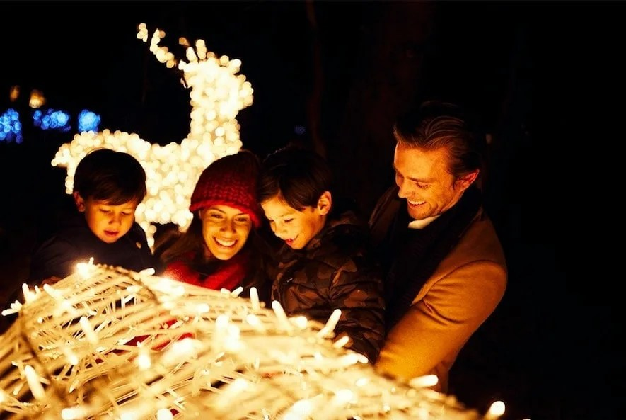 Enjoying festive lights, part of my tips on Winter activity ideas for families
