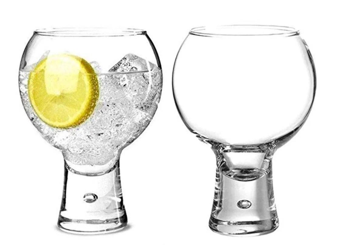 Set of 2 Gin Glasses, Short Stem Bubble Base Glasses 19oz 540ml | Balloon Gin Spanish Copa