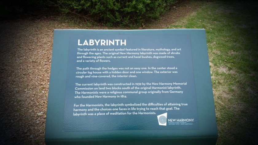 Labyrinth Sign in New Harmony, Indiana