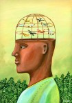 Profile of a man with a birdcage and birds for the top of his head