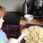 flattening down the flapjack mix