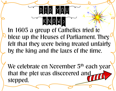 in 1605 a group of catholics tried to blow up the houses of parliament. They felt that they were being treated unfairly by the king and the laws of the time. We celebrate on November 5th each year that the plot was discovered and stopped.