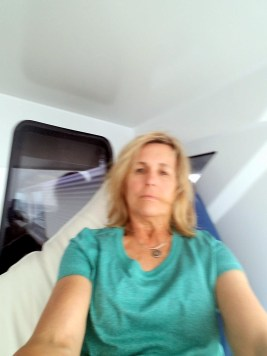 Deb in rough seas 8 hr to bahamas 6717.