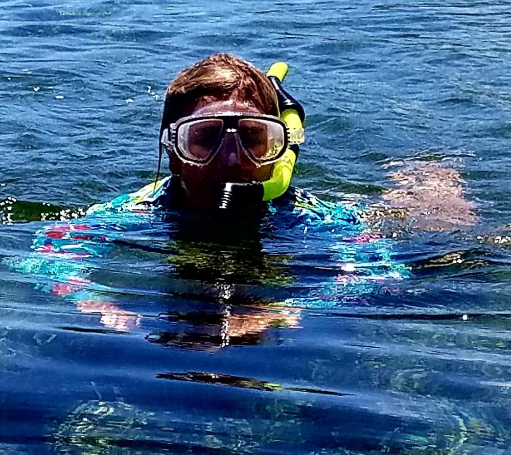 Deb snorkeling 1st time allan cay 61517