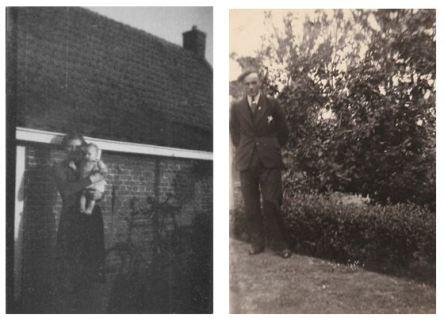 """Foto links: Attje Heeringa-Boomsma, en  dochter Tjerkje, voor het huis van haar ouders. Dit huis is, Miedleane 23 en is later afgebroken en stond aan """"de oude meer"""". De foto dateert uit december 1944. Foto rechts: Jan Heeringa op 22 mei 1941 bij het huwelijk van Jan en Attje."""