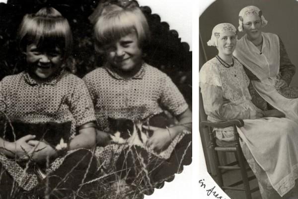 Foto links: Feikje en Riemkje. Foto rechts: Riemkje en Feikje.