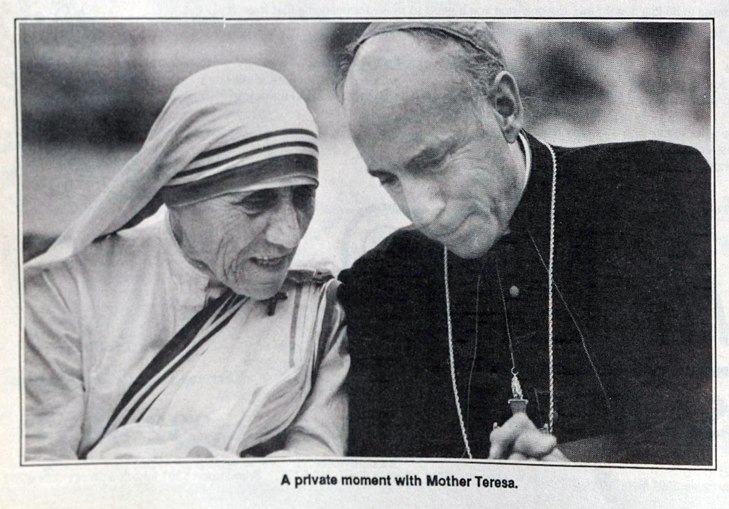 As bishop of Lafayette, Flynn hosted Mother Teresa at the Cajundome.
