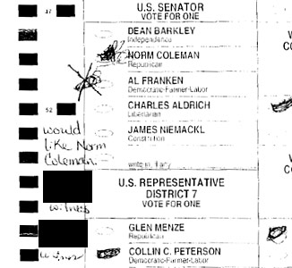 With so many ballots such as these, it has been impossible to scan what the voters intent was. Each ballot is now being looked over by hand to determine who the voter actually wanted to vote for