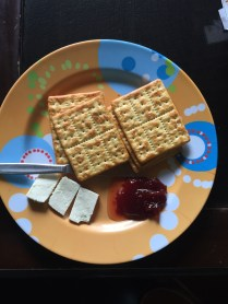 Crackers, jam and cheese