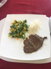 Steak, veggies and rice