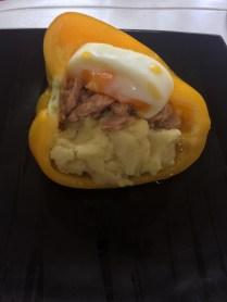 Tuna, potato and egg stuffed bell peppers