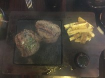 My favorite meal: filete cooked on a salad of VOLCANIC ROCK! Also with delicious fries