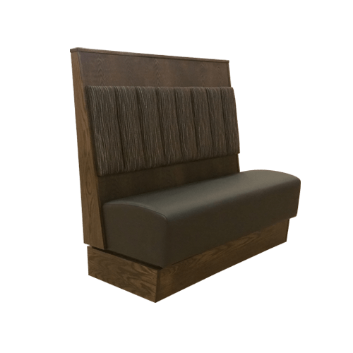 booths with interchangeable cushions featuring channels or tufted panels