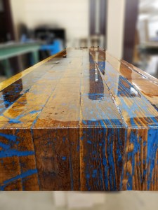 Reclaimed wood bar top