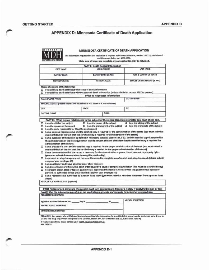 Minnesota Certifiacte of Death Application 1